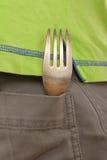 La fourchette se situe dans la poche Image libre de droits