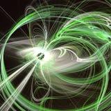 La fractale abstraite verte ondule avec les faisceaux lumineux Photos stock