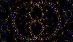 La fractale a chiné le modèle de couleur sur un fond noir Image stock