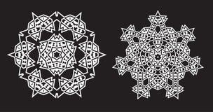 La fractale ethnique Mandala Vector ressemble au flocon de neige ou à la Maya Aztec illustration de vecteur