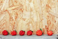 La fragola fruttifica in una fila sul fondo di legno bianco della tavola immagini stock
