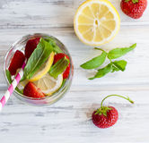 La fragola, la menta ed il cocktail attaccano - gli ingredienti per la fragola Fotografie Stock Libere da Diritti