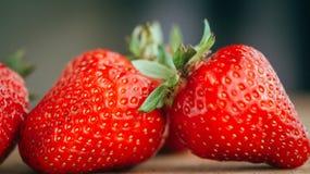 La fraise fraîche sur un fond en bois foncé, se ferment de la grande fraise sur le bois Photographie stock