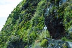 La frana ha eliminato la strada della costa a Oporto Moniz sulla costa di nord-ovest in cui le montagne nel Nord dell'isola del M Fotografie Stock Libere da Diritti