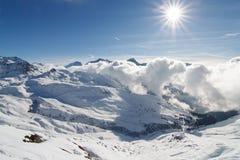 La francés Plagne de la estación de esquí de las montan@as Fotografía de archivo libre de regalías