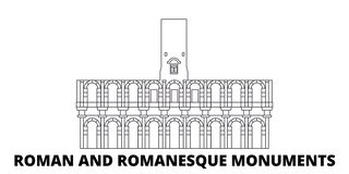 La France, Arles, ligne ensemble de Roman And Romanesque Monuments Landmark d'horizon de voyage La France, Arles, Roman And Roman illustration de vecteur
