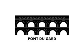 La France, ensemble plat d'horizon de voyage de Pont du Gard Landmark La France, illustration de vecteur de ville de noir de Pont illustration stock