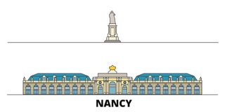 La France, illustration plate de vecteur de points de repère de Nancy Landmark La France, ligne ville de Nancy Landmark avec des  illustration de vecteur