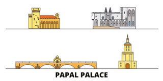La France, palais papal, illustration plate de vecteur de points de repère d'ensemble de pont épiscopal d'Avignon La France, pala illustration libre de droits