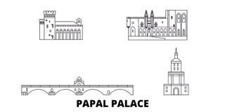 La France, palais papal, ligne épiscopale ensemble de pont d'Avignon d'ensemble d'horizon de voyage La France, palais papal, ense illustration de vecteur