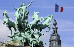 La France ; Paris ; sculpture aux palais grands Images stock