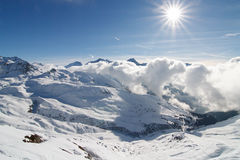 La francese Plagne della stazione sciistica delle alpi Fotografia Stock Libera da Diritti