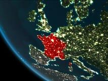 La Francia alla notte dall'orbita Fotografia Stock