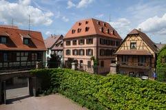 La Francia, il villaggio di Bergheim nell'Alsazia Immagine Stock Libera da Diritti