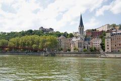La Francia, Lione - 3 agosto 2013: La chiesa di St George il diciannovesimo Fotografia Stock Libera da Diritti
