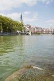 La Francia, Lione - 3 agosto 2013: Vista dell'argine di Lione Fotografie Stock Libere da Diritti