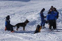 La Francia, Montgenevre. Addestramento di salvataggio della valanga del gennaio 2013 Fotografie Stock Libere da Diritti