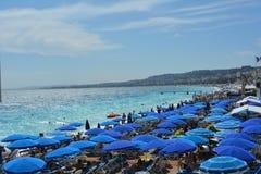 La Francia, Nizza ombrelli Fotografie Stock