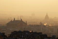 La Francia. Parigi. Orizzonte da Montmartre al tramonto Fotografie Stock Libere da Diritti
