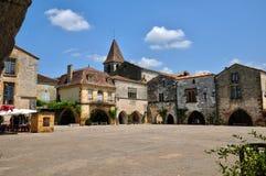 La Francia, villaggio di Monpazier in Perigord Fotografia Stock