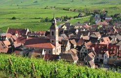 La Francia, villaggio pittoresco di Riquewihr nell'Alsazia Fotografia Stock Libera da Diritti