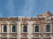La frangia dei ghiaccioli. St Petersburg. Fotografia Stock