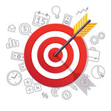 La freccia colpisce il centro dell'obiettivo Concetto di successo di affari Fotografia Stock