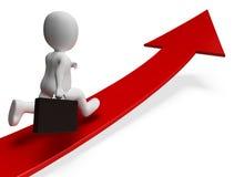 La freccia della direzione rappresenta la rappresentazione di Person And Advance 3d di affari Fotografia Stock
