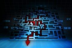 La freccia di affari ha risolto il labirinto Fotografie Stock