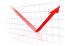 La freccia di tendenza gira verso l'alto Immagine Stock
