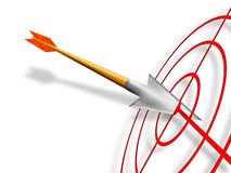 La freccia ha attaccato in terget rosso Fotografie Stock