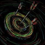 La freccia ha colpito l'obiettivo Fotografie Stock