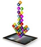 La freccia ha composto dei apps che cadono nello spostamento Immagine Stock Libera da Diritti