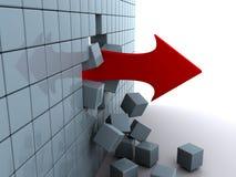 La freccia perfora la parete Fotografia Stock Libera da Diritti