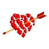 La freccia rompe il cuore ai pezzi royalty illustrazione gratis