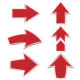 La freccia rossa segna un'ombra su un fondo bianco illustrazione vettoriale