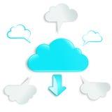 La freccia rumorosa del  di Ñ e circonda cinque nuvole Royalty Illustrazione gratis