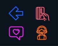 La freccia sinistra, il messaggio di amore ed il pagamento cardano le icone Segno di sostegno Freccia di direzione, datante servi Fotografia Stock