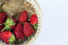 La fresa da fruto los detalles en fondo blanco aislado cesta Imagen de archivo