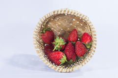 La fresa da fruto los detalles en fondo blanco aislado cesta Fotografía de archivo