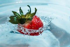 La fresa roja cae en el agua y crea un chapoteo fotografía de archivo