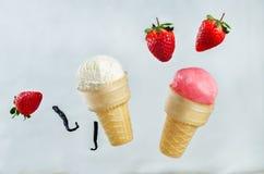 La fresa y vainilla helado con las rebanadas del vuelo Imagen de archivo libre de regalías