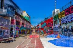 Marseilles-Friche La Belle De Mai. `La Friche la Belle de Mai` a heavy graffiti cultural site including T.V and Cinema set in a gentrifying old district of stock images