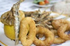 La frittura mista del pesce con le acciughe ed il calamaro suona Immagine Stock