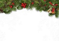 La frontera de la Navidad ramifica y acebo en el fondo blanco Imágenes de archivo libres de regalías