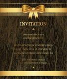 La frontera de oro de la cinta en la invitación de madera de la textura, saludo, celebración, enhorabuena carda el fondo abstract stock de ilustración