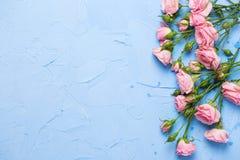 La frontera de rosas rosadas florece en backgroun texturizado azul claro Foto de archivo libre de regalías