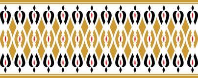 La frontera decorativa elegante compuso de colores rojos y negros de oro stock de ilustración
