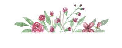 La frontera Rose Frame Wedding Flower Hand roja del Watercolour pintó Fotos de archivo libres de regalías