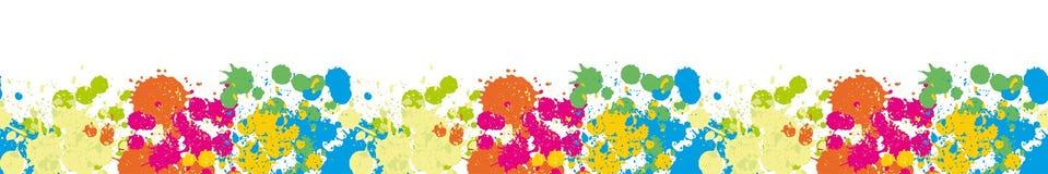 La frontière colorée éponge sur le modèle sans couture de fond blanc Photo stock